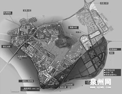 最新出炉的东海片区规划图,阴影部分为正在填土的6000多亩滩涂