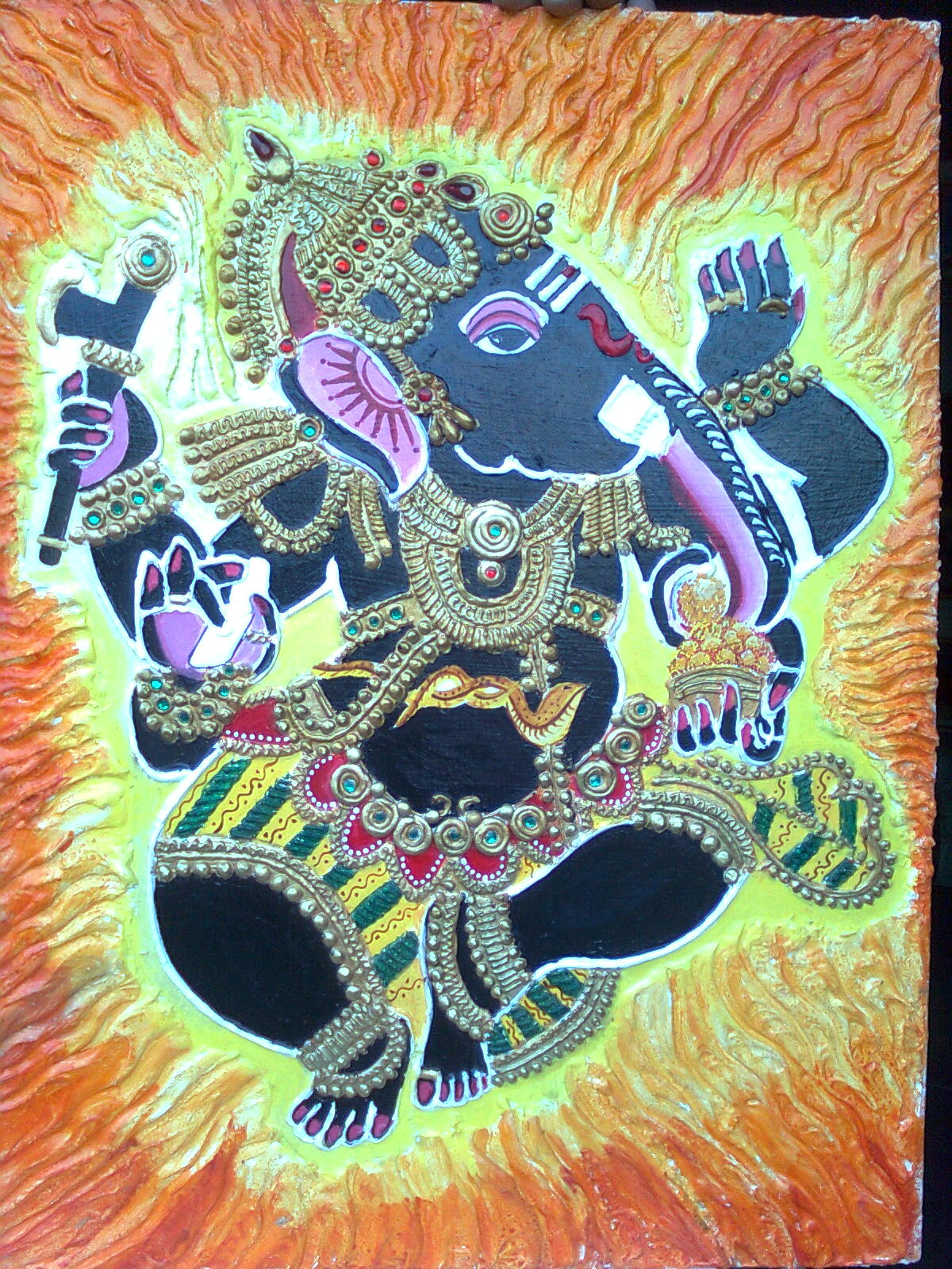 Elegant paintings ganesha mural for Mural ganesha