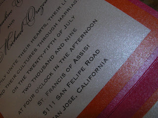 custom wedding invitation: hot pink pocket fold with orange (sunstone) accents