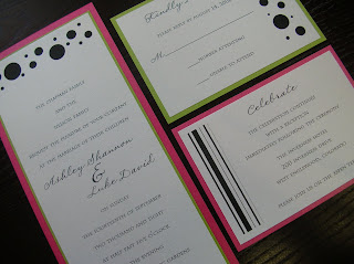 custom wedding invitation: hot pink and lime (chartreuse) flat panel invitation with polka dots and stripes