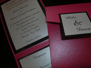 custom wedding invitation: hot pink, black and white pocketfold