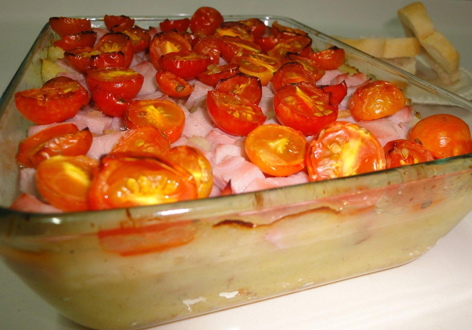 minick menus: potatoes, ham and tomato casserole