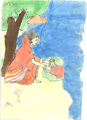Karna, abandonné par sa mère, la princesse Kunti