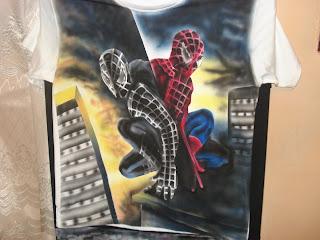 Aerografia sobre franelas, Spiderman
