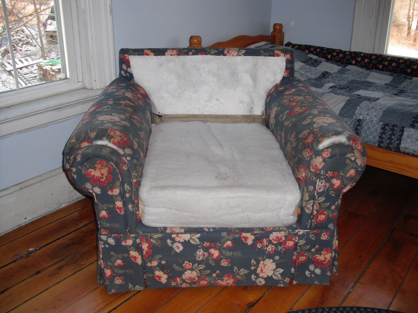 Couch potato slipcovers old purple sheets chair slipcover before amp after