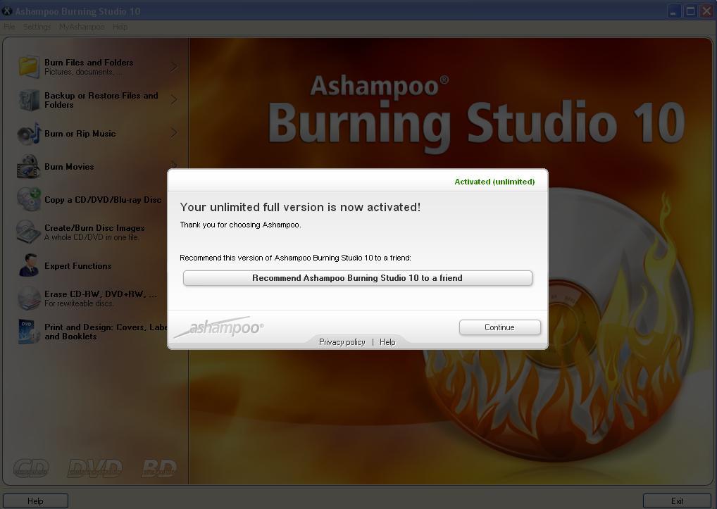 ashampoo burning studio 10 key