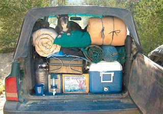 On A Recent Long Weekend Fishing Trip In Northern New Mexico Wiley The Trout Hound Sits Atop Authors Camping Gear Stowed Inside Trunk Area Of