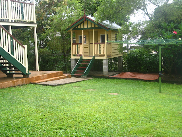Backyard Sandpit : Our Queenslander backyard with cubby house and sandpit