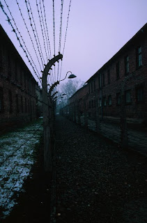 A barbed wire fence in Auschwitz I