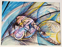 Cyclist in Motion '07 Watercolor and Acrylic $200-