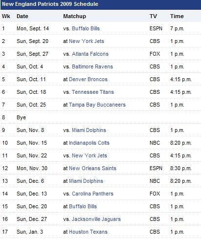 Patriots' 2009 Schedule