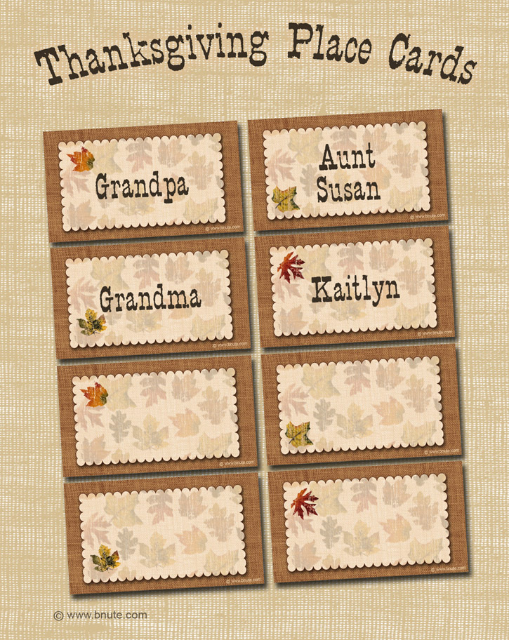 Lively image inside place cards printable