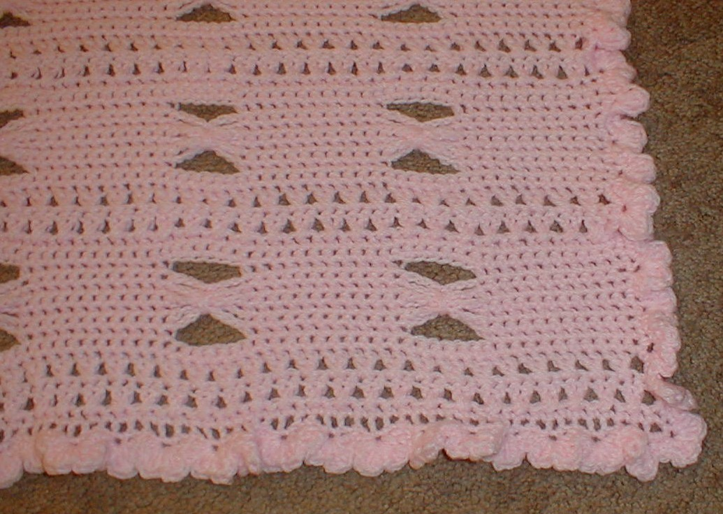 Karens Crocheted Garden of Colors: Pink Butterfly Wings Baby Blanket