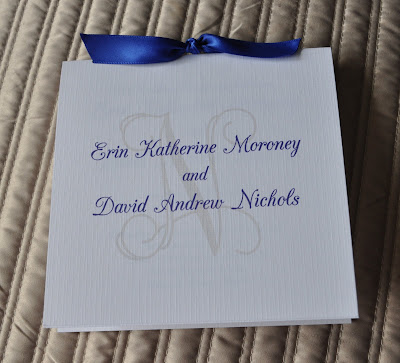 Layout Christina Wedding Program Ink Color Royal Blue Paper White Linen