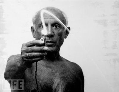 Art: Picasso plays with flashlight via french blast