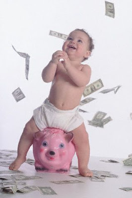 baby very happy with money