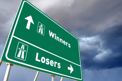 winner and loser success sign signboard