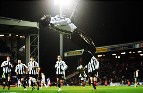 Obafemi Martins with his sommersault celebration trademark