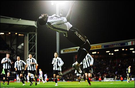 Obafemi Martins with his sommersault celebration trademark