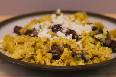 Kalyn's Kitchen: Easy South Beach Breakfast Recipes:  Scrambled Eggs with Mushrooms and Feta