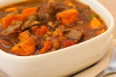 Lentil and Sausage Soup with Sweet Potatoes