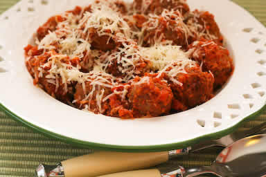 Beef and Sausage Meatballs in Tomato Sauce found on KalynsKitchen.com