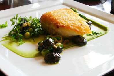 ... the halibut served on fava bean puree, served with lovely spring peas