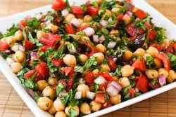 garbanzo bean salad bread salad with charred tomatoes cucumber and ...