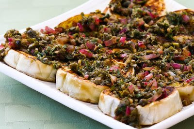 Pan-Fried Eggplant with Onion Caper Sauce