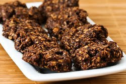 Sugar-Free (or Low-Sugar) and Flourless Chocolate and Oatmeal Cluster Cookies found on KalynsKitchen.com