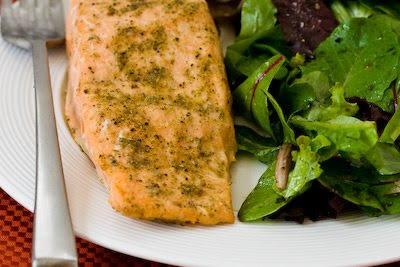 Easy Recipe for Roasted Salmon with Rosemary-Garlic Rub (Low-Carb, Gluten-Free) found on KalynsKitchen.com