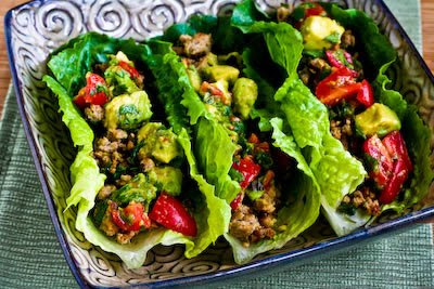 Turkey Lettuce Wrap Tacos with Chiles, Cumin, Cilantro, Lime and Tomato-Avocado Salsa found on KalynsKitchen.com