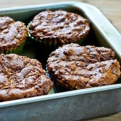 finished Low-Sugar and Flourless Zucchini Muffins with Pecans (Gluten-Free) found on KalynsKitchen.com
