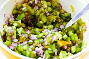 stir in some green Tobasco sauce (or your favorite hot sauce) and lime ...