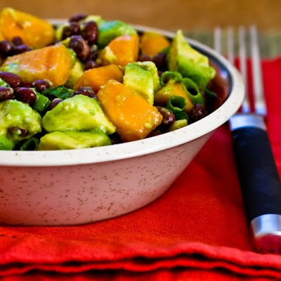 Black Bean Salad with Fuyu Persimmon, Avocado, and Lime-Cumin Vinaigrette found on KalynsKitchen.com