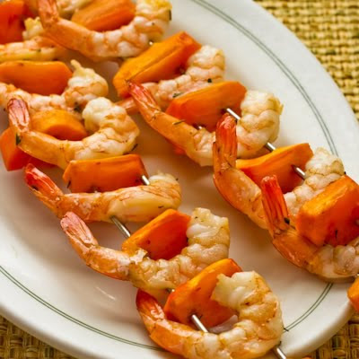Garlic and Rosemary Roasted Shrimp Skewers with Fuyu Persimmon