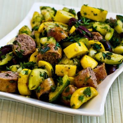 Grilled Sausage and Summer Squash with Herbs, Capers, Kalamata Olives, and Lemon found on KalynsKitchen.com