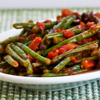 Braised Green Beans with Garlic, Tomatoes, Olives, and Capers found on KalynsKitchen.com.