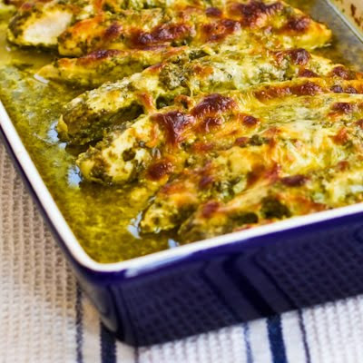 Easy Baked Pesto Chicken Recipe found on KalynsKitchen.com