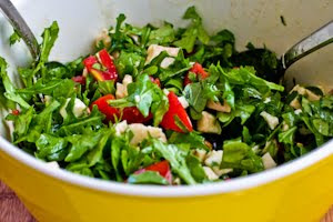 Baby Arugula Chopped Salad with Chicken, Fresh Mozzarella, and Tomatoes from KalynsKitchen.com
