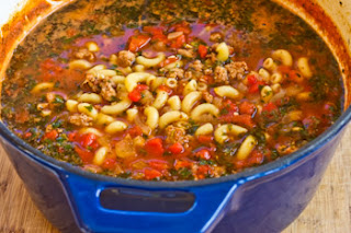 Easy Recipe for Italian Sausage, Tomato, and Macaroni Soup with Basil found on KalynsKitchen.com