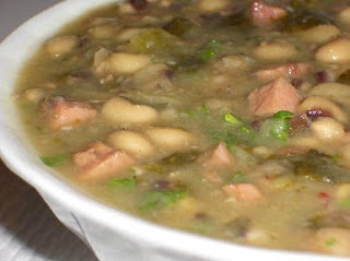 Hopping John Soup Recipe for  Luck in the New Year (Black-Eyed Pea, Ham, and  Collard Greens Soup) found on KalynsKitchen.com
