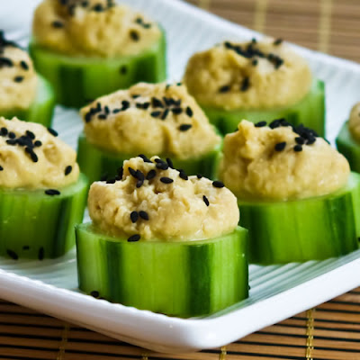 Hummus and Cucumber Appetizer Bites with Sesame Seeds found on KalynsKitchen.com