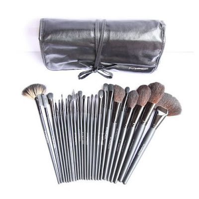 24-Piece MAC Brush Set with Leather Case
