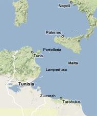 Mappa del Canale di Sicilia