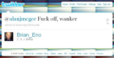Brian Eno to Alan McGee: fuck off, wanker