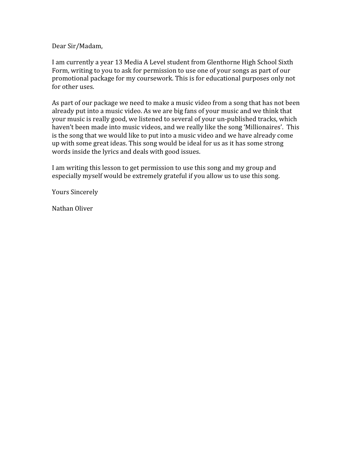 Nathan Powell Permission Letter