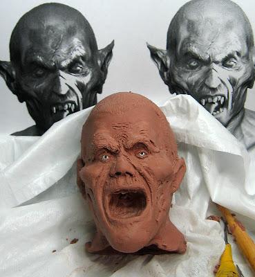 Dracula head sculpture