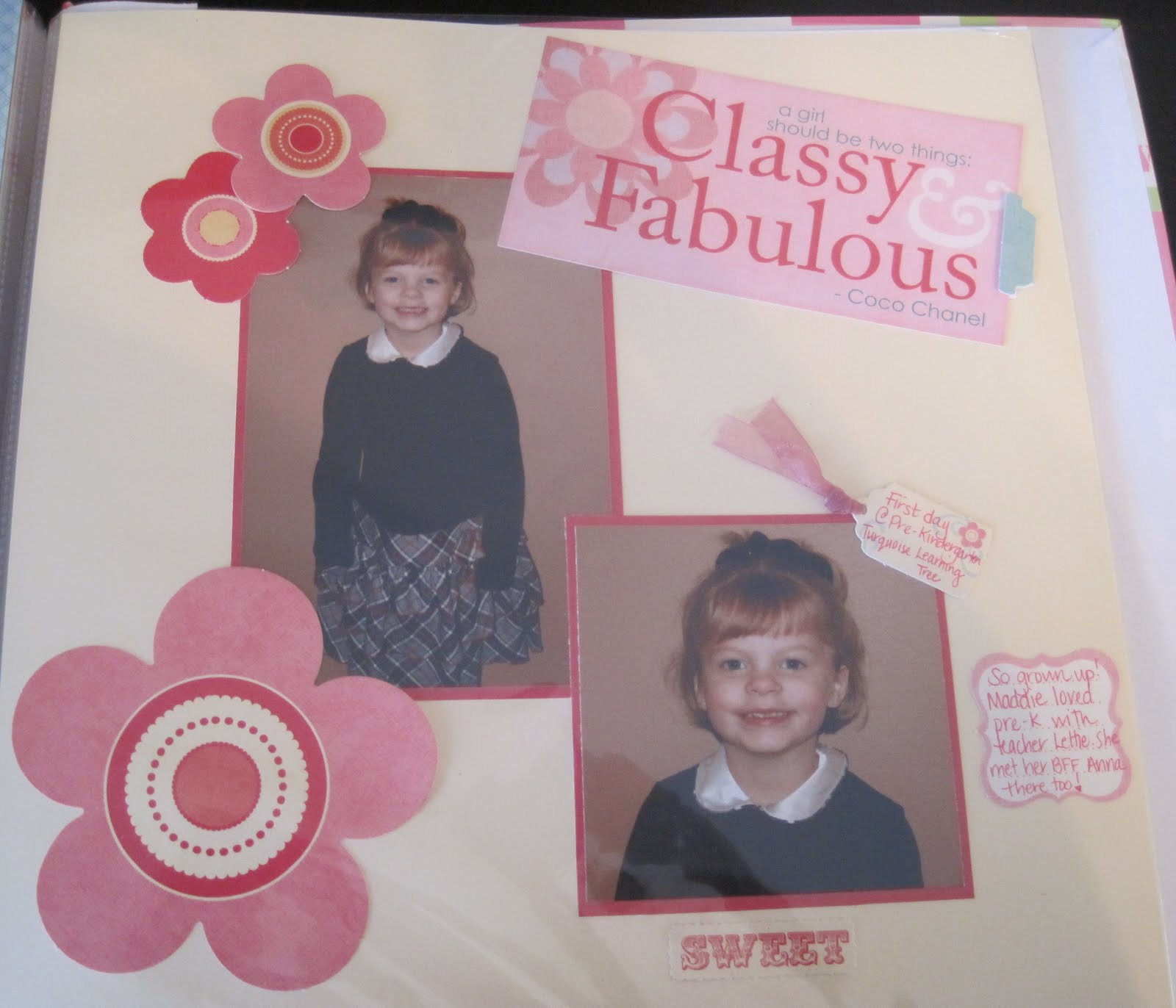 Scrapbook ideas kindergarten - This Was My Daughter S First Day Of Pre Kindergarten And She Was So Excited She Wanted To Wear Her Christmas Dress For The First Day