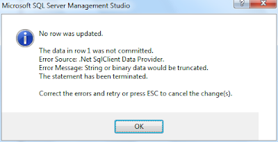 Error Message: String or binary data would be truncated.